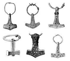 Different types of Thor's Hammers found in viking graves, or otherwise unearthed. http://www.pp-mittelalter-shop.com/historischer-schmuck/der-schmuck-der-wikinger.html