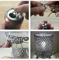 Met bliklipjes maak je een leuke creatieve lampenkap.