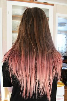 Pink ombre dip dyed hair