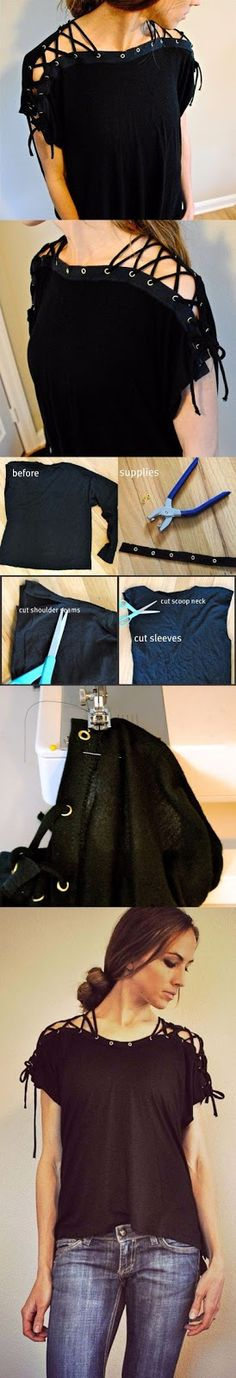 Here is another fun t-shirt recycle I designed and it's quite easy. It's a nice way to create a unique shirt without showing too m...