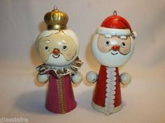 Vintage Paper Mache CARTAPESTA Santa & Mrs Claus Christmas Ornaments