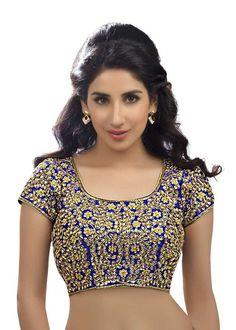Stunning Bridal Swarovski Royal Blue Sari Blouse Choli Saree Indian Crop Top #SarisandThings #Choli
