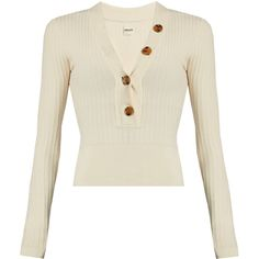 Khaite Gloria V-neck ribbed-knit sweater ($710) ❤ liked on Polyvore featuring tops, sweaters, ivory, button sweater, cropped sweater, ribbed knit sweater, white cropped sweater and ivory sweater