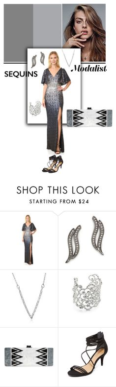 """""""Sequin Shine for New Year's Eve Party"""" by modalist ❤ liked on Polyvore featuring Notte by Marchesa, Rebecca Minkoff, Kate Spade, Edie Parker and Schutz"""