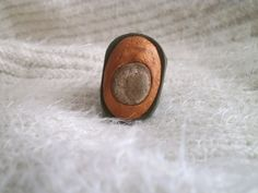 Olive green gold big polymer clay ring with beach pebble by Lijoux