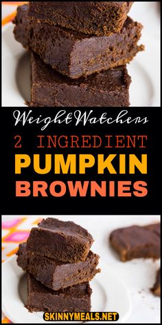 These 2 Ingredient Pumpkin Brownies are a quick and easy low Weight Watchers points plus dessert! They are fudge like in consistency! Weight Watchers Brownies, Weight Watcher Desserts, Weight Watchers Snacks, Weight Watcher Muffins, Weight Watchers Kuchen, Weight Watcher Cookies, Weight Watchers Points Plus, Weight Watchers Breakfast, Weight Watchers Pumpkin Cake Recipe