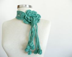 Crochet lariat scarf, handmade crochet flower neckwarmer autumn women accessories, mint green