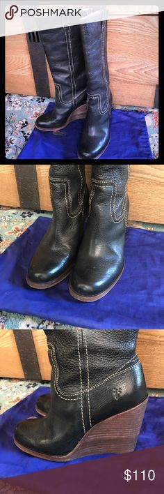 Frye Caroline Campus wedge tall boots - navy blue Beautiful navy blue leather wedge boots by Frye. Their leather is unbeatable. This boot is in like new condition. Only worn twice. Frye Shoes Heeled Boots