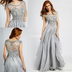 Silver Grey Mother Of The Bride Dress Jewel Neck Ced Sleeves Beading Chiffon 2016 Full Long