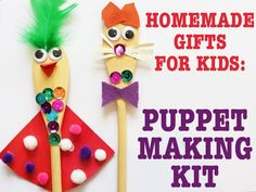 This puppet making kit is great for using up all sorts of leftover crafty scraps and is a fun way to encourage the recipient child's creativity and language development.