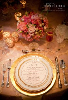 WedLuxe Magazine, traditional pink arrangements with gold table setting and mercury glass votives