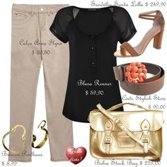 Como usar: Calça Bege - How to wear: Beige Pants Beige Jeans, Bago, Ideias Fashion, Polyvore, Satchel, Outfits, Blouse, Tan Jeans