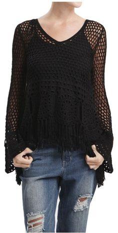 Crochet Knit Fringe Sweater With Tie Back                                                                                                                                                                                 Más