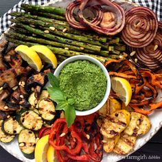 Miso-Butter Grilled Veggies with Basil-Mint Pesto - afarmgirlsdabbles ...