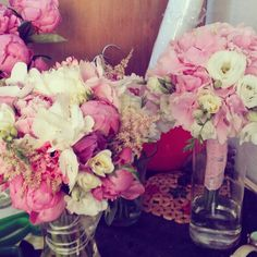 Pink bride bouquets. Paeonia, ranunculus, astilbe. Hydrangea