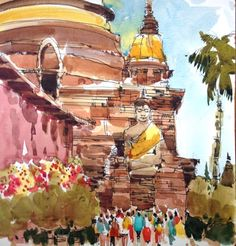 It's a good thing I filled my palette with some fresh New Gamboge to paint the saffron wrapped Buddhas and chediof Wat Yai Chai Mongkhon temple in Ayuthaya, Thailand. Ayuthaya was the capital...