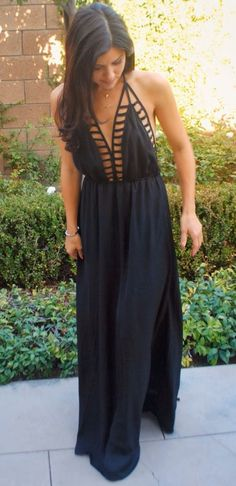 Love this cage-detail backless black maxi dress