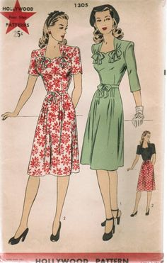 1940s Hollywood dress sewing pattern