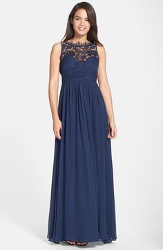 Aidan+Mattox+Embellished+Lace+&+Silk+Chiffon+Gown+(Online+Only)+available+at+#Nordstrom