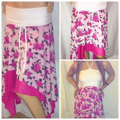 XL Fairy Skirt, Hippie Top, Pink Rose Dress, plus size Hippie Skirt by Phatcatpatch, $74.99
