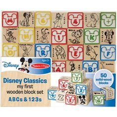 Melissa & Doug Disney Baby Classics My First Wooden Block Set, ABCs and 123s - Walmart.com