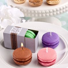 Trendy Macaroon Candle Favors