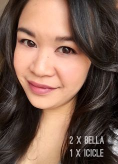 Bella and Icicle long lasting LipSense with Matte Gloss! Perfect for everyday. Order Here: www.senegence.com/TheseLipsDontLieMM   #LipSense #Bella #Icicle #MatteGloss #Pink #Nude #Lips #Asian #DarkHair
