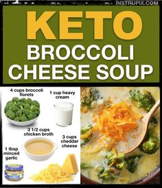 Low Carb Broccoli Cheese Soup - Just 5 ingredients! This keto broccoli cheese s. - Low Carb Broccoli Cheese Soup – Just 5 ingredients! This keto broccoli cheese soup recipe is the - Low Carb Keto, Low Carb Recipes, Healthy Recipes, Easy Recipes, Cheap Recipes, Cooking Recipes, Low Carb Soups, Slow Cooker Keto Recipes, Healthy Snacks