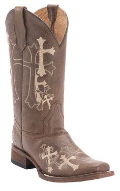 Corral® Circle G™ Women's Distressed Brown w/ Beige Cross Embroidery Square Toe Western Boots | Cavender's