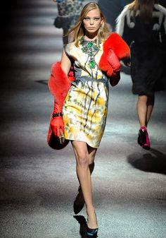 Lanvin Fall 2012 RTW red fur shawl