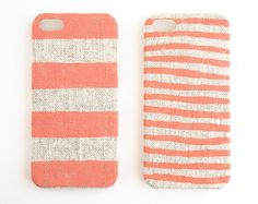 Iphone case coral stripes on unbleached natural linen
