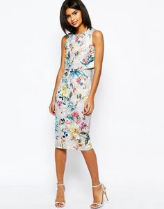 Image 1 Of Asos Botanical Crop Top Midi Pencil Dress Going Out Outfits