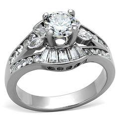 Women's Stainless Steel Round & accents  Cz Engagement Wedding cocktail Ring  #SolitairewAccentStones