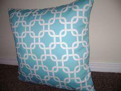 Aqua Blue Pillow Cover Gotcha Girly Blue by CleusaSordiDecor