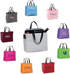Monogram Tote Bags - Personalized Canvas Totes - Bridal Party, Bridesmaid, Greek, Teacher Gift, Mom, Essential Tote by DesignsbyDaffy on Etsy