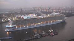October 25 2014 - Quantum of the Seas coming out of dry dock in Hamburg, Germany.