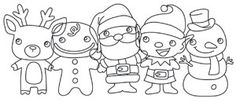 This adorable band of Christmas characters will liven up any hemline! Downloads as a PDF. Use pattern transfer paper to trace design for hand-stitching.