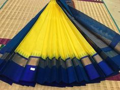 Brilliant combination of bright yellow and blue contrast kanchi silk cotton saree - new