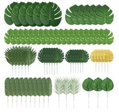 Auihiay 70 Pieces 10 Kinds Artificial Palm Leaves Tropical Leaves Decorations for Jungle Party Decorations Beach Birthday Luau Hawaiian Party Decorations Decoration Birthday, Jungle Party Decorations, Easy Party Decorations, Spongebob Birthday Party, Jungle Theme Birthday, Artificial Palm Leaves, Deco Jungle, Hawaiian Luau Party, Adult Luau Party