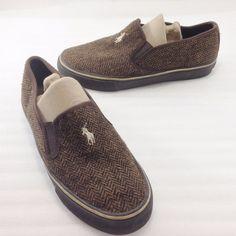 Polo Ralph Lauren Mannheim Brown Herringbone Textile Boat Deck Shoes Mens 8D #PoloRalphLauren #BoatShoes