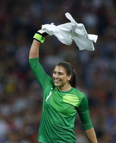Goalkeeper Hope Solo of the U.S. celebrates winning their women's soccer final gold medal match against Japan at Wembley Stadium during the London 2012 Olympic Games August 9, 2012