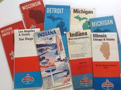 Vintage 70s standard oil gas station road maps Indiana San Diego Los Angeles Michigan Illinois Detroit Chicago by Hannahandhersisters on Etsy