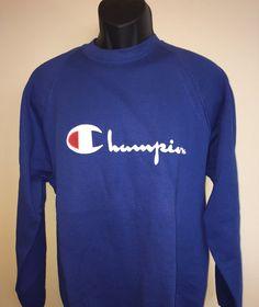 *SOLD* Vintage 1980s Champion Sweatshirt Rare Retro Long Sleeve #Throwback Crewneck Tee Shirt Pullover Blue Soft #Champion MADE In USA