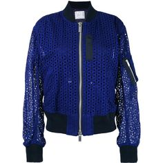 Sacai broderie bomber jacket (€1.090) ❤ liked on Polyvore featuring outerwear, jackets, blue, sacai jacket, embroidery jackets, bomber style jacket, bomber jacket and flight jacket