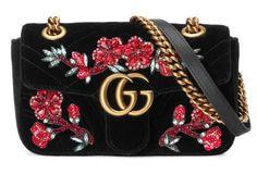 afedd5357562a GG Marmont Mini-Tasche aus Samt mit Stickerei Handtaschen Marken