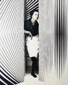 "Bridget Riley (British, b. 1931) working initially in black and white, she evolved a style in which she explored the dynamic effects of optical phenomena. These so-called 'Op-art' pieces, such as ""Fall"", 1963, produce a disorienting physical effect on the eye."