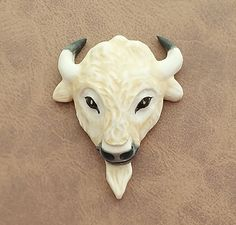 Tatanka White Buffalo Bison Porcelain Cabochon Ceramic Buffalo #1 By Loco Lobo Designs by LocoLoboDesigns on Etsy