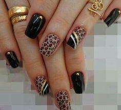 Resultado de imagen para gold and beige toenails Cheetah Nail Designs, Leopard Print Nails, Acrylic Nail Designs, Black Nail Designs, Fancy Nails, Bling Nails, Cute Nails, Pretty Nails, Fabulous Nails
