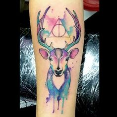 Hp Tattoo, Harry Potter Tattoos, Badass Tattoos, Tatoos, Watercolor Tattoo, Tatting, Tattoo Ideas, Deer, Tatuajes