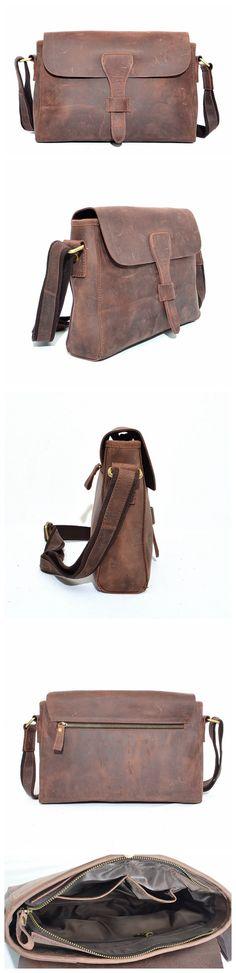 Handmade Vintage Style Top Grain Leather Men Messenger Shoulder Bag Crossbody Bag